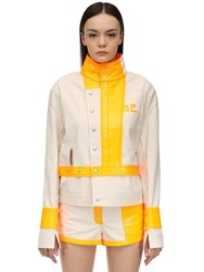 Courreges Contrasting Cotton And Vinyl Jacket Array 0X58a3508