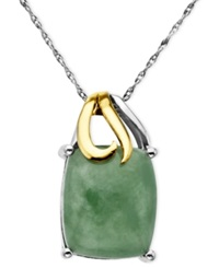 Macy's 14K Gold And Sterling Silver Pendant Jade Rectangle 5 3 8 Ct. T.W.
