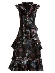 Erdem Rochelle Bacall Night Jacquard Dress Black Multi
