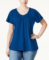 Jm Collection Woman Jm Collection Plus Size Short Sleeve Crochet V Neck Tee Only At Macy's Blue Steel
