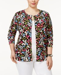 August Silk Plus Size Printed Cardigan Ditsy Floral