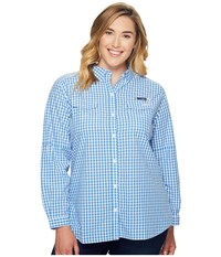 Columbia Plus Size Super Bonehead Ii L S Shirt Harbor Blue Gingham Women's Long Sleeve Button Up