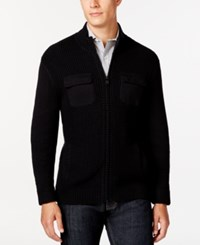 Alfani Black Damon Texture Full Zip Mock Neck Sweater Only At Macy's Deep Black
