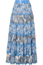 Alice Olivia Satin And Lace Trimmed Floral Print Crepe De Chine Maxi Skirt Blue