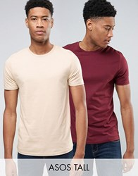 Asos Tall 2 Pack T Shirt In Beige Pink With Crew Neck Save Multi