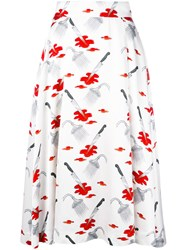 Olympia Le Tan Printed Skirt Women Viscose 36 White