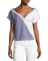 Opening Ceremony Cody Off The Shoulder Striped Poplin Top Blue