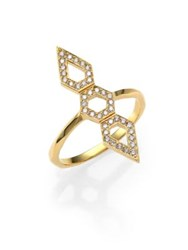Ron Hami Orighami Pave Diamond And 18K Yellow Gold Three Shape Totem Ring