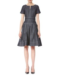 Carolina Herrera Topstitched Short Sleeve Denim Dress Navy