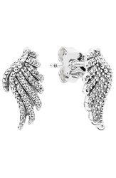 Pandora Design 'Majestic Feathers' Stud Earrings Silver Clear