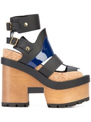 Sacai Pierre Hardy Wooden Wedge Sandals Women Cork Wood Leather Rubber 38 Black
