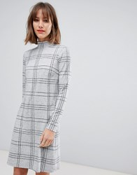 Esprit High Neck Dress In Grey Check