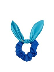 House Of Lafayette Satin Bow Scrunchie Blue