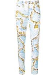 Moschino Chain Scribble Jeans White