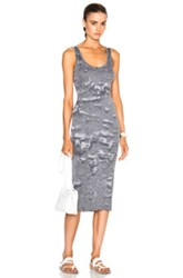 Enza Costa Rib Tank Dress In Gray Ombre And Tie Dye Gray Ombre And Tie Dye