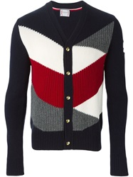 Moncler Gamme Bleu Colour Block Ribbed Cardigan Blue