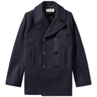 Saint Laurent Wool Peacoat Blue