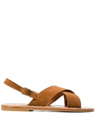 K. Jacques Cross Strap Sandals Brown