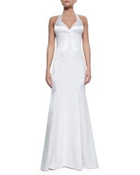 Rubin Singer Silk Open Back Halter Gown White