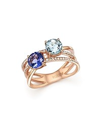Bloomingdale's Tanzanite Aquamarine And Diamond Two Stone Ring In 14K Rose Gold Rose Blue