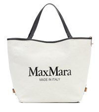Max Mara Plage Logo Canvas Shopper White