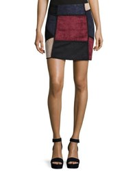 Romeo And Juliet Couture Faux Suede Patchwork Skirt Wine Combo