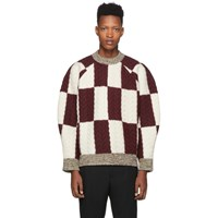 Sunnei Burgundy And Off White Wool Oversize Sweater