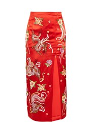 Attico Embroidered Dragon Satin Skirt Red Multi