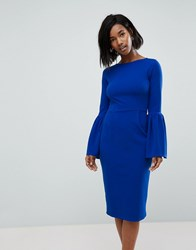 Club L Pencil Dress With Extreme Frill Sleeve Cobalt Blue