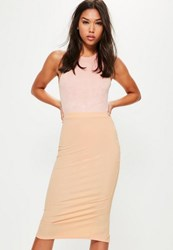 Missguided Pink Longline Ribbed Midi Skirt