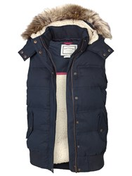 Fat Face Kimberley Faux Fur Trim Gilet Tech Navy