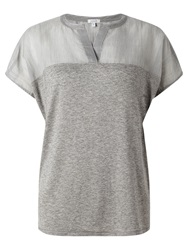 Jigsaw Striped Yoke Top Light Grey