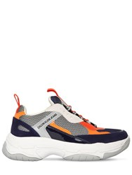 Calvin Klein Jeans 40Mm Maya Leather And Mesh Sneakers Navy Grey