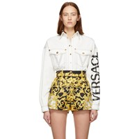 Versace White Denim V Embroidered Shirt