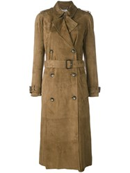 Desa 1972 Belted Trench Coat Women Leather 38 Green