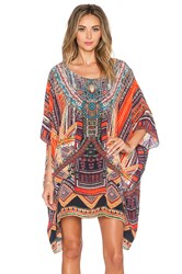Camilla Short Round Neck Kaftan Orange