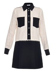 See By Chloe Point Collar Lace And Crepe Dress