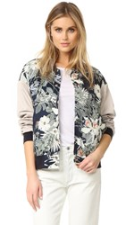 James Jeans Oversized Varsity Jacket Evening Hibiscus