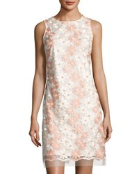 Donna Ricco Floral Embroidered Sleeveless Dress White Pink