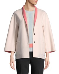 Escada Snap Front Long Sleeve Reversible Wool Cashmere Coat Coral