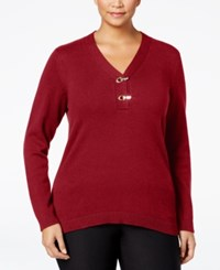 Charter Club Plus Size Henley Sweater Only At Macy's New Red Amore