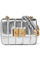 Tom Ford Natalia Large Metallic Quilted Leather Shoulder Bag Silver