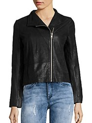Maje Asymmetric Zip Leather Jacket Black