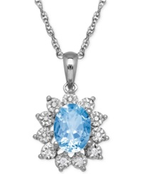 Macy's Blue Topaz 1 3 8 Ct. T.W. And Diamond Accent Pendant Necklace In 14K White Gold