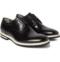 Armando Cabral Grosgrain Trimmed Leather Derby Shoes Black