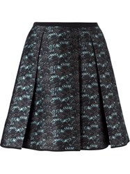 Odeeh Pleat Detail Jacquard Skirt Blue
