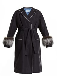 Prada Fur Trimmed Tie Waist Faille Wrap Coat Navy White