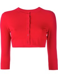 Alaia Cropped Cardigan Red