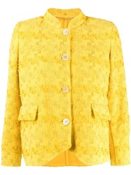 Ermanno Scervino Embroidered Fitted Jacket Yellow