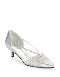Caparros Camille Metallic Point Toe Kitten Heels Silver